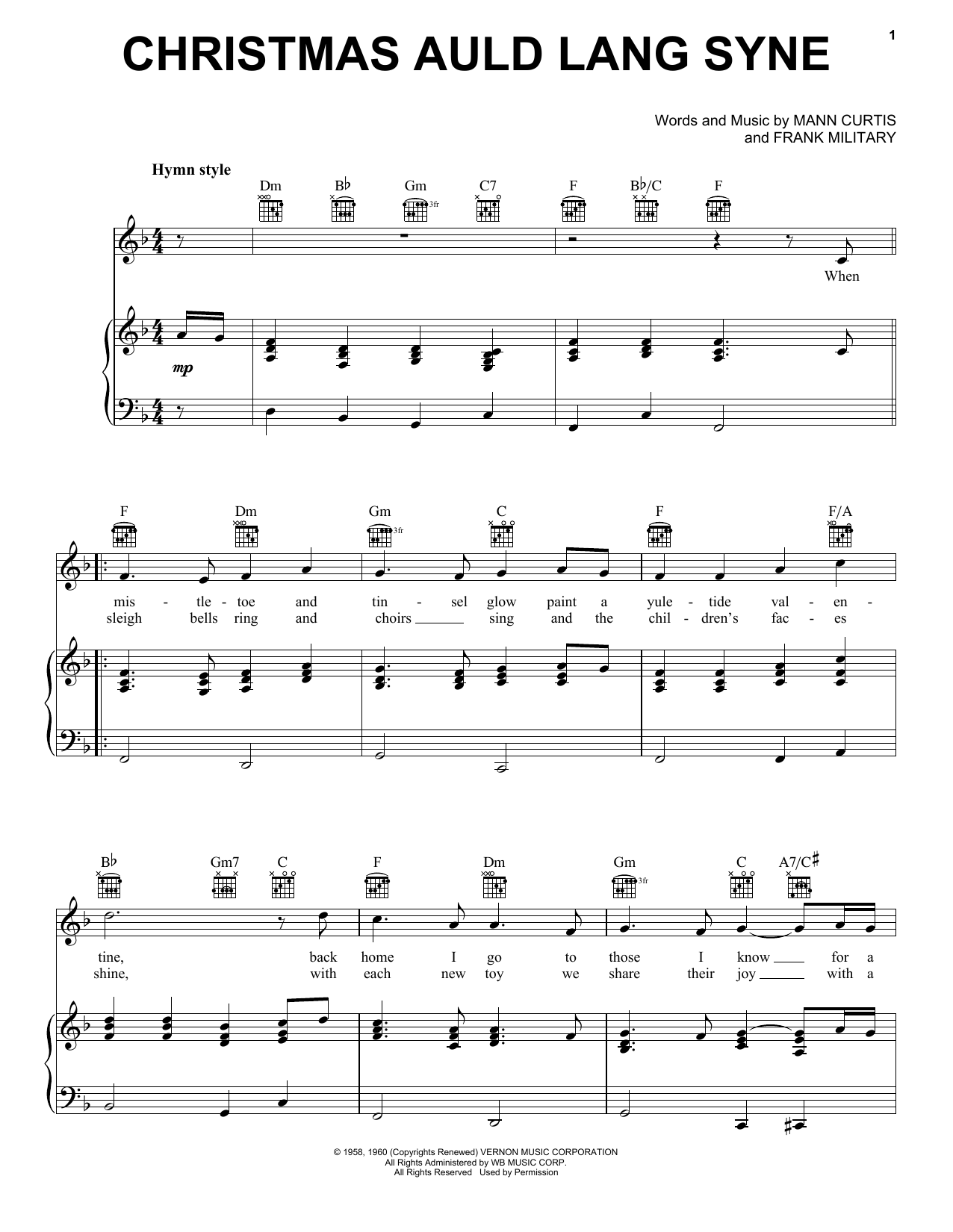 Christmas Auld Lang Syne (Piano, Vocal & Guitar (Right-Hand Melody))