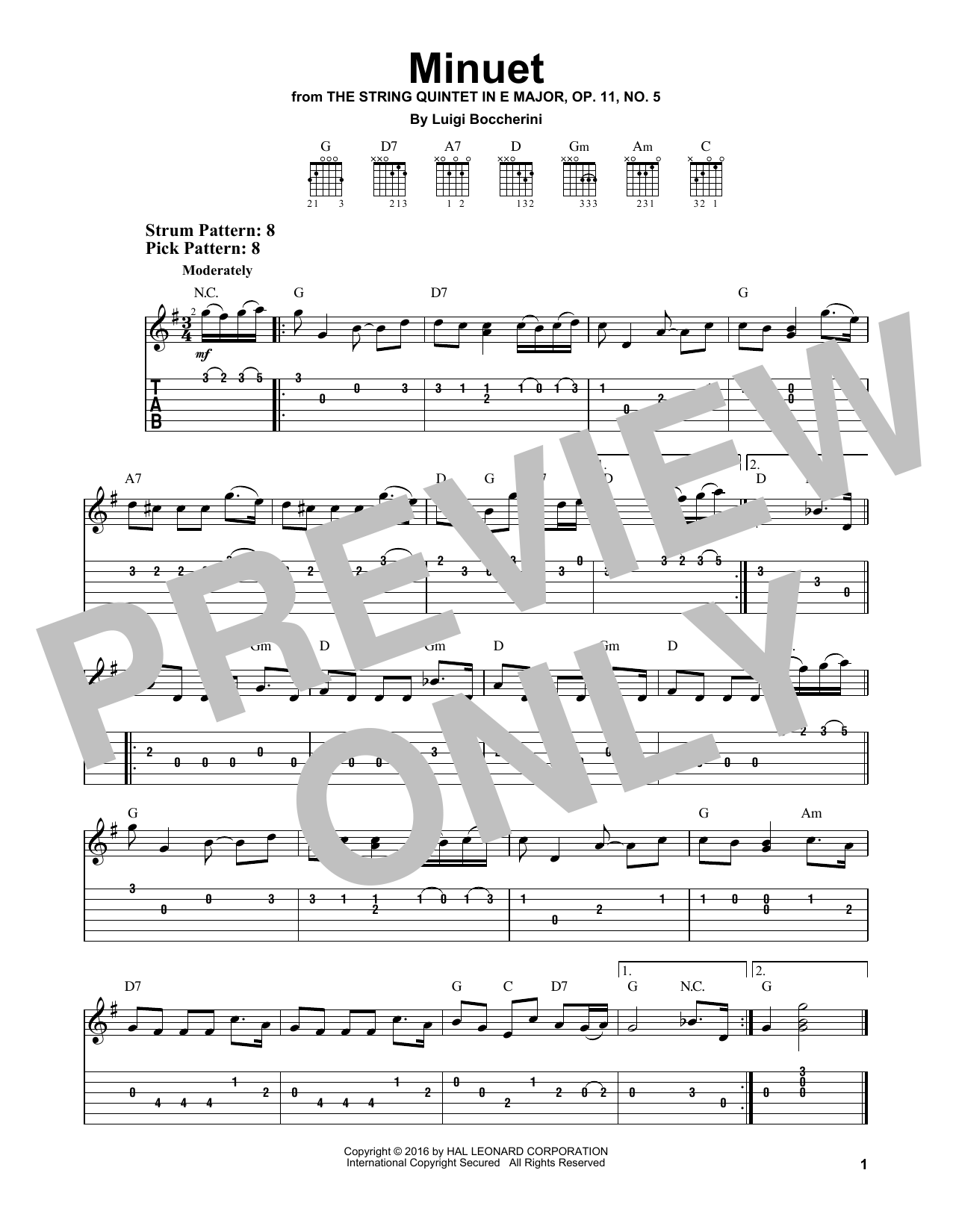 Minuet (Easy Guitar Tab)