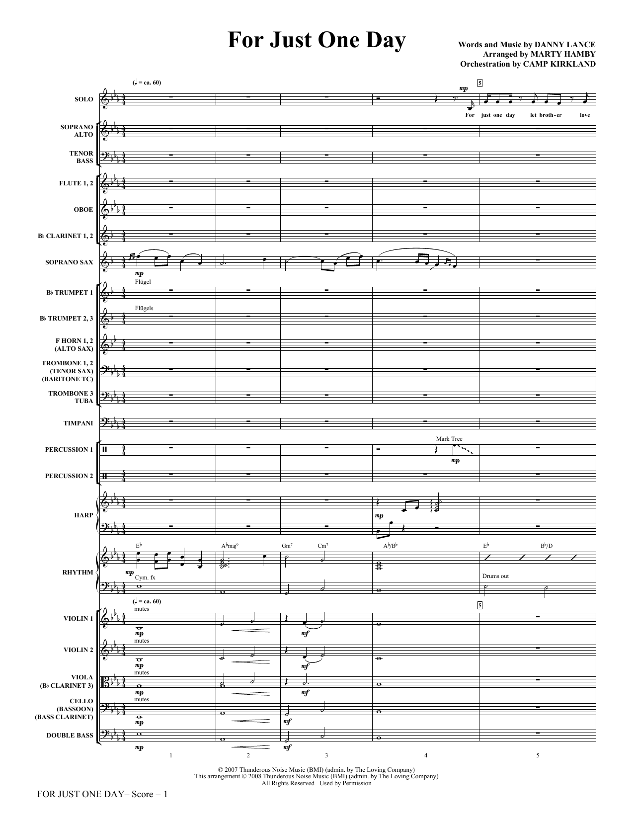 For Just One Day - Full Score Sheet Music
