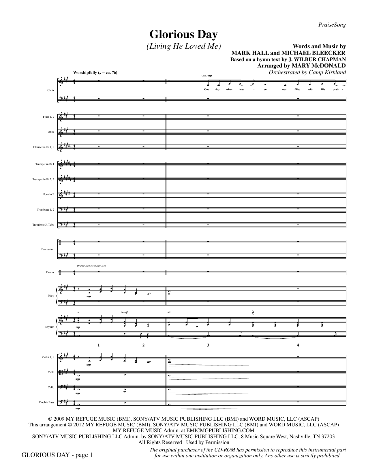 Glorious Day (Living He Loved Me) (complete set of parts) sheet music for orchestra/band by Mary McDonald, Casting Crowns, Mark Hall and Michael Bleaker. Score Image Preview.