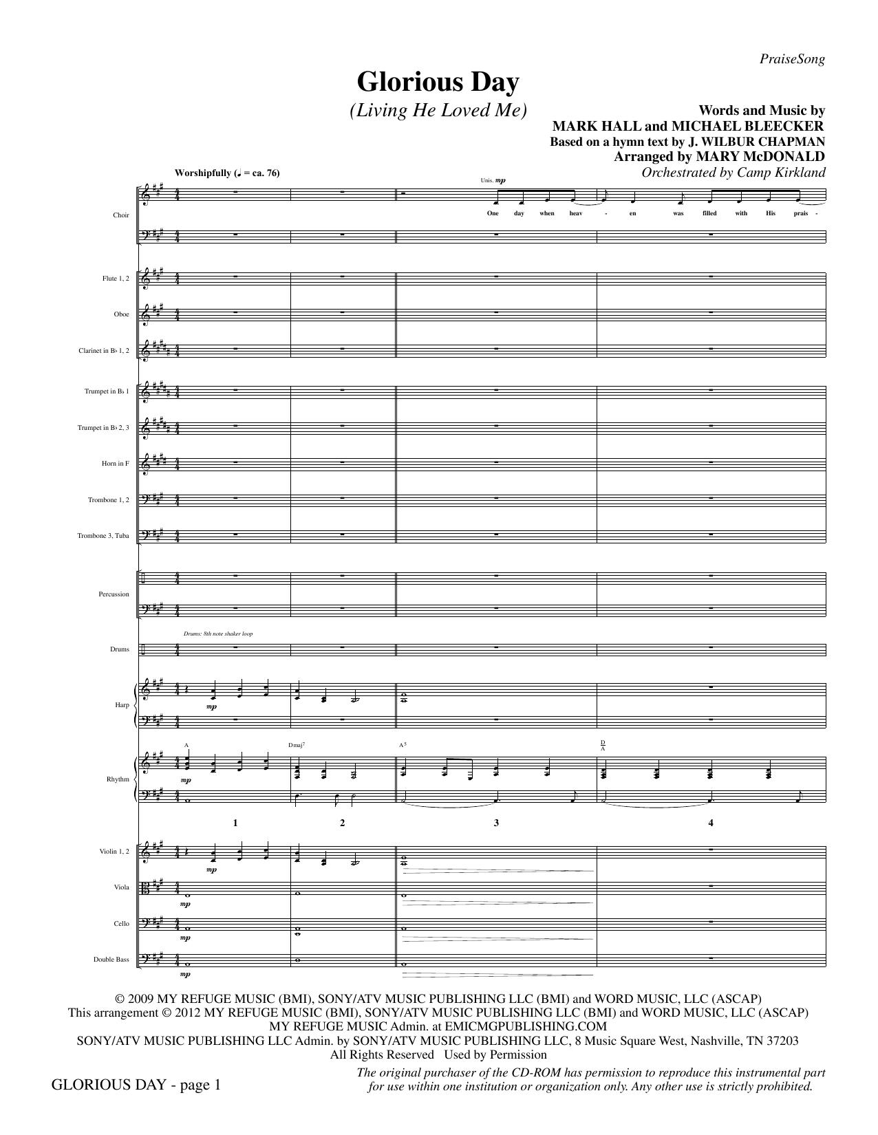Glorious Day (Living He Loved Me) - Full Score Sheet Music