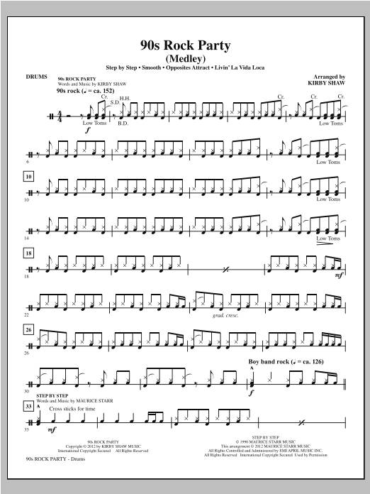 90s Rock Party - Drums Sheet Music