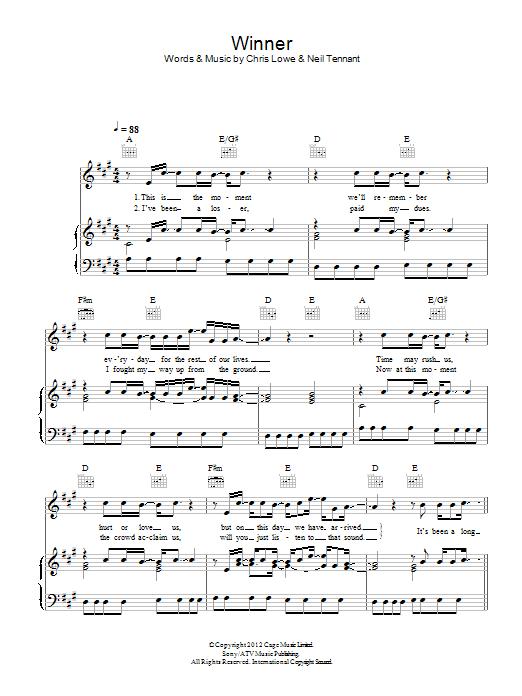 Winner (Piano, Vocal & Guitar)