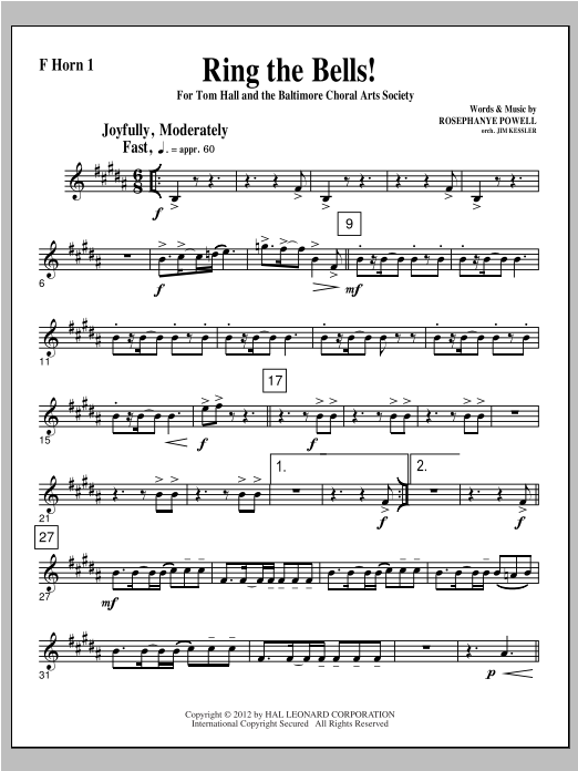 Ring The Bells! - F Horn 1 Sheet Music