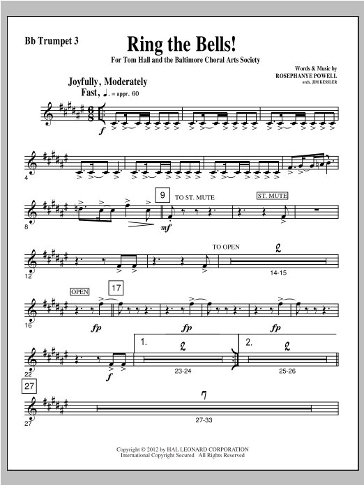 Ring The Bells! - Bb Trumpet 3 Sheet Music