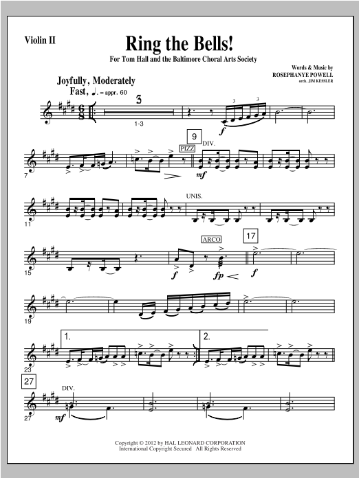 Ring The Bells! - Violin 2 (Choir Instrumental Pak)