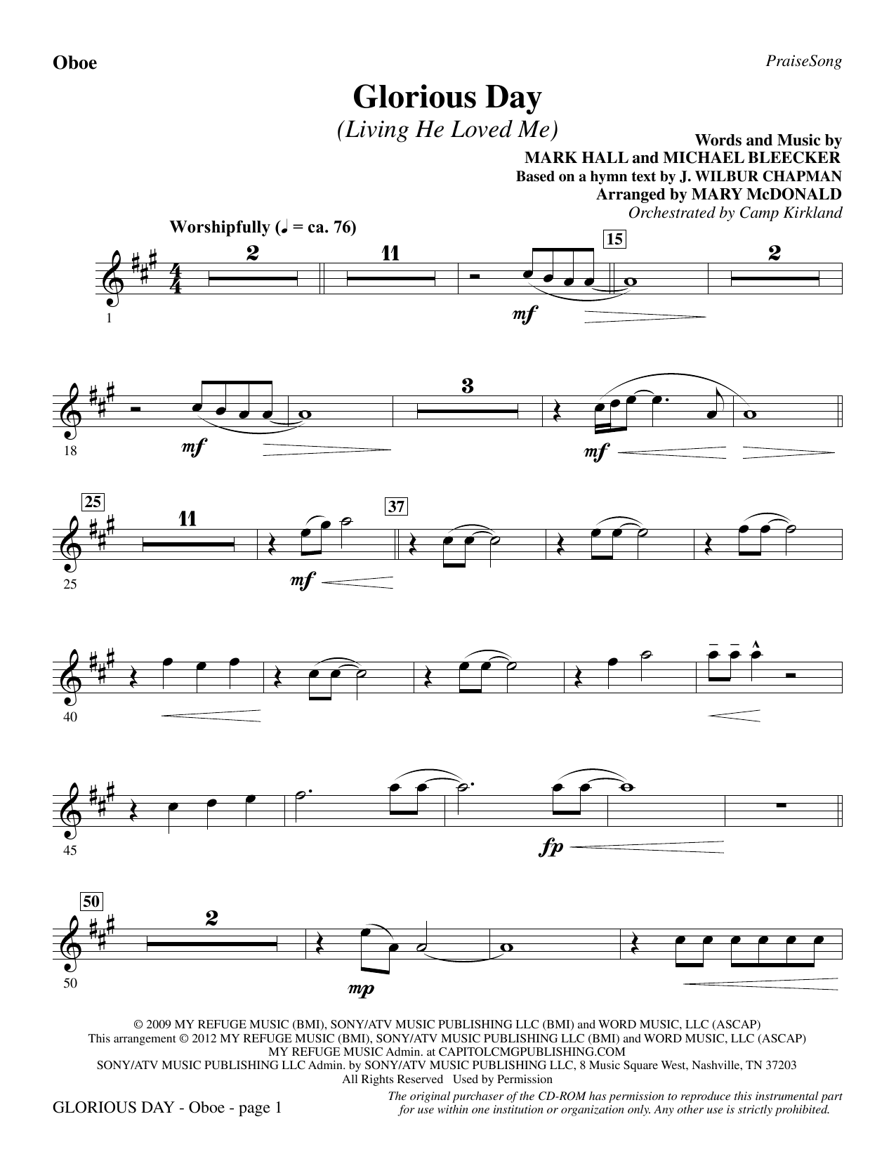 Glorious Day (Living He Loved Me) - Oboe Sheet Music