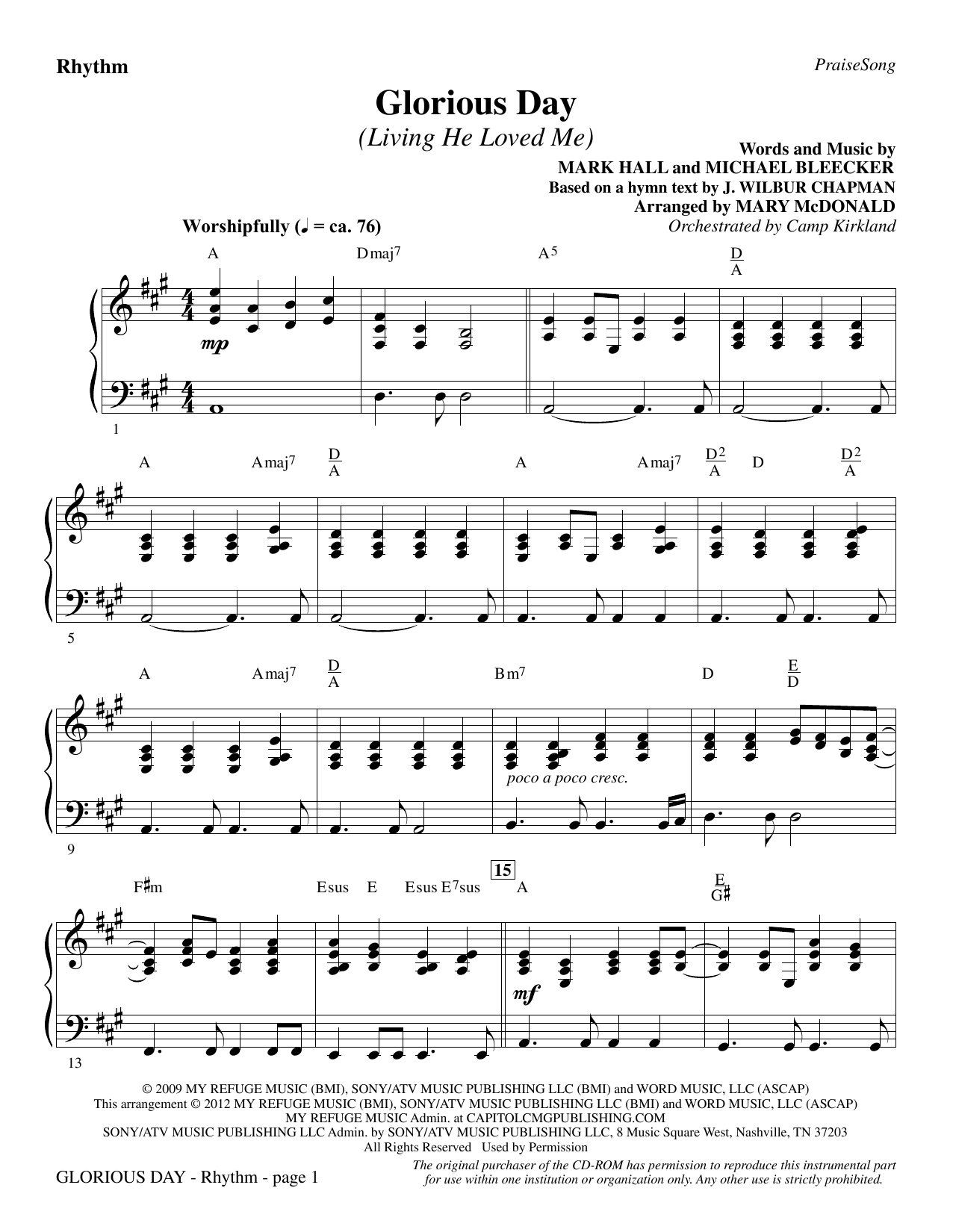 Glorious Day (Living He Loved Me) - Rhythm Sheet Music