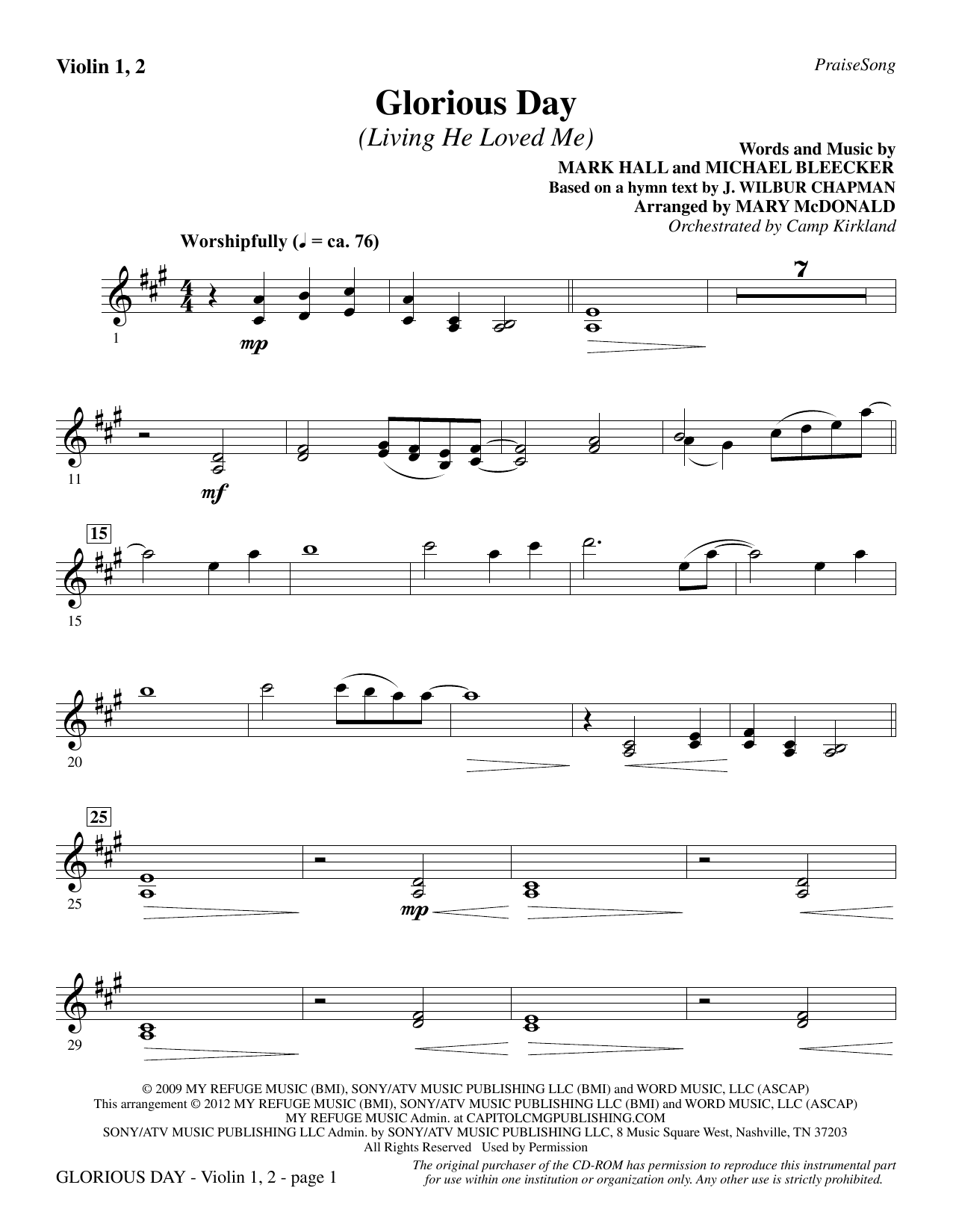 Glorious Day (Living He Loved Me) - Violin 1, 2 Sheet Music