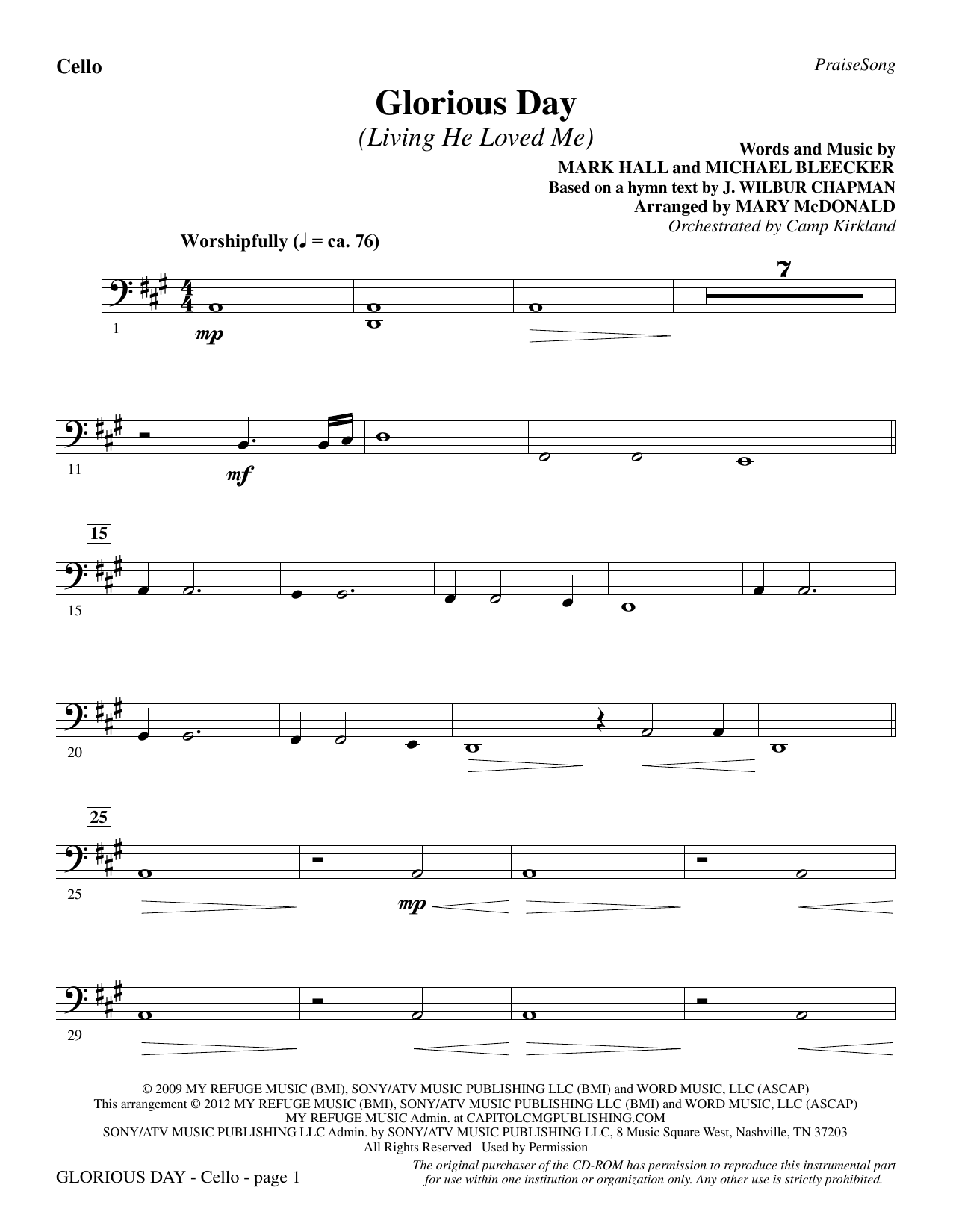 Glorious Day (Living He Loved Me) - Cello Sheet Music