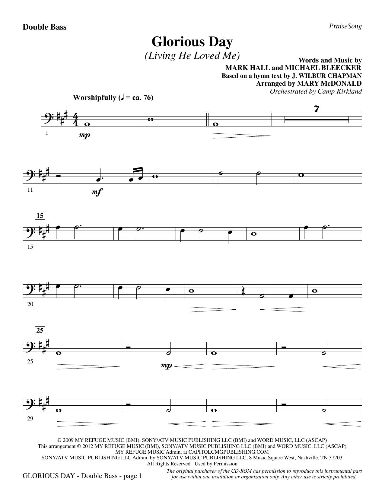 Glorious Day (Living He Loved Me) - Double Bass Sheet Music