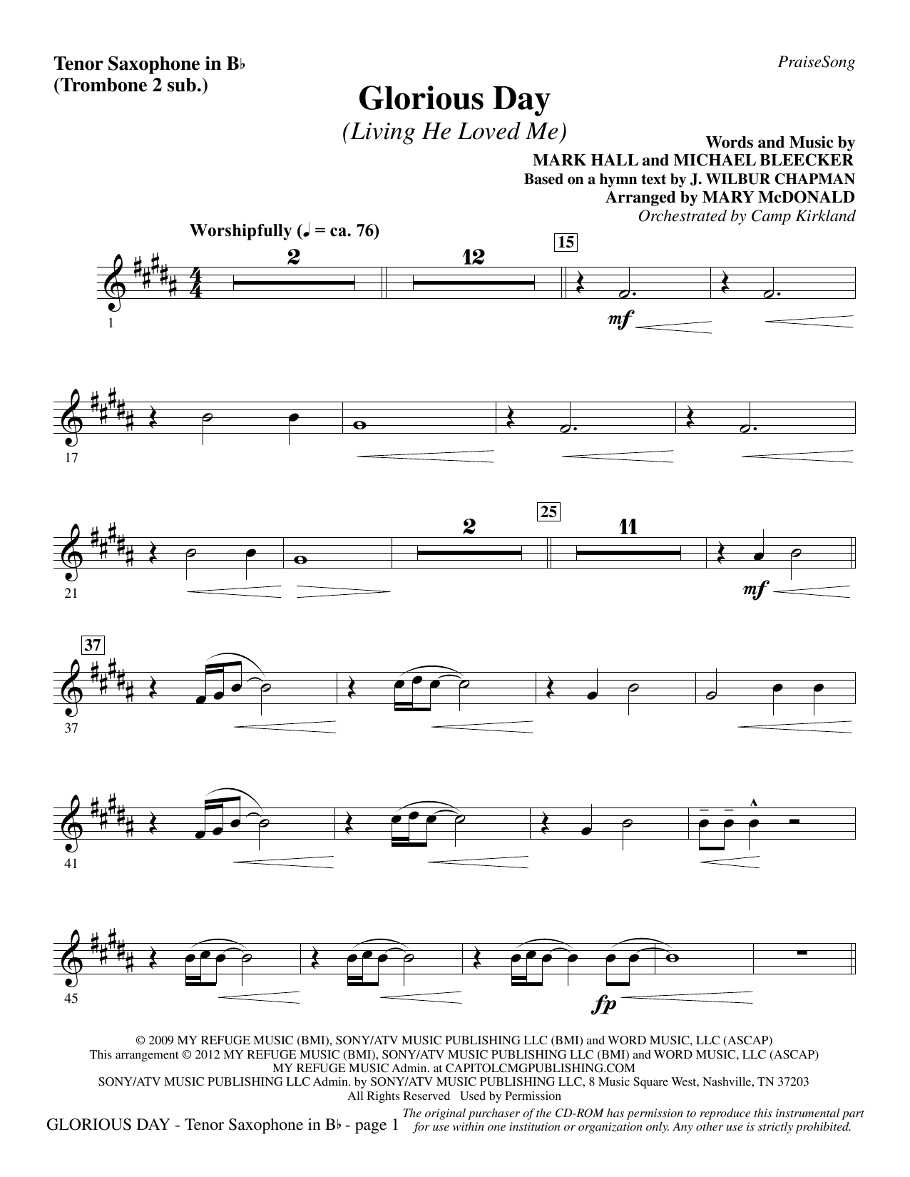 Glorious Day (Living He Loved Me) - Tenor Sax (sub. Tbn 2) Sheet Music