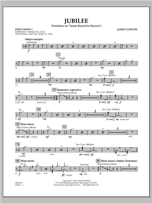 "Jubilee (Variations On ""Saints Bound for Heaven"") - Percussion 2 Sheet Music"