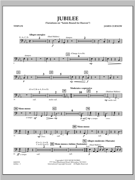 "Jubilee (Variations On ""Saints Bound for Heaven"") - Timpani Sheet Music"