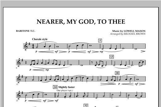 Nearer, My God, To Thee - Baritone T.C. Sheet Music