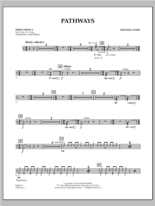 Pathways - Percussion 2 Sheet Music