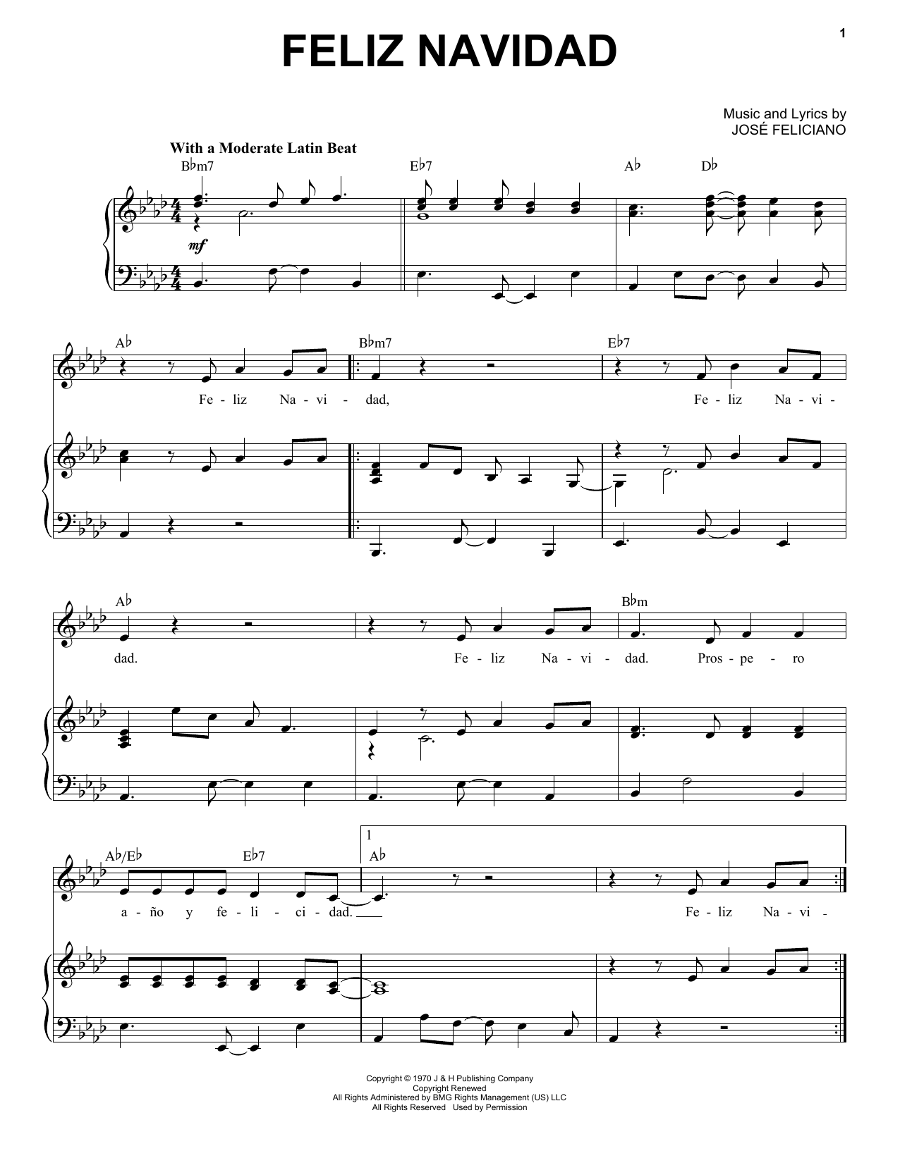 feliz navidad piano vocal print sheet music now feliz navidad piano vocal print sheet music now