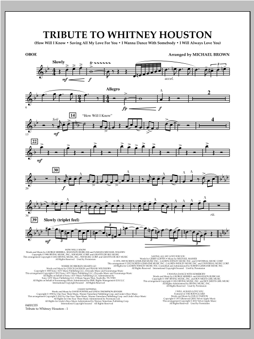 Tribute To Whitney Houston - Oboe Sheet Music