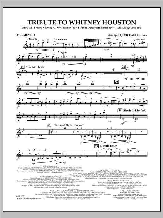 Tribute To Whitney Houston - Bb Clarinet 1 Sheet Music