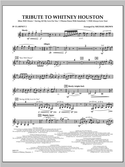Tribute To Whitney Houston - Bb Clarinet 2 Sheet Music