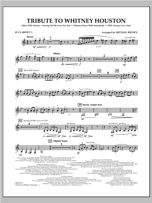 Tribute To Whitney Houston - Bb Clarinet 3 Sheet Music