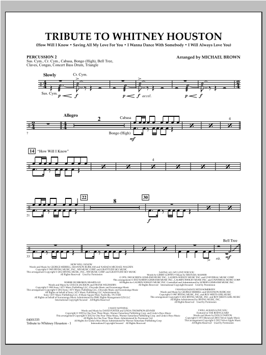 Tribute To Whitney Houston - Percussion 2 (Concert Band)