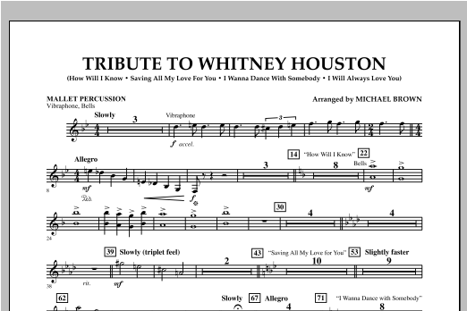 Tribute To Whitney Houston - Mallet Percussion Sheet Music