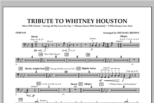 Tribute To Whitney Houston - Timpani Sheet Music