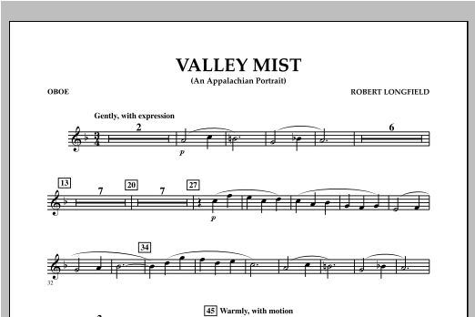 Valley Mist (An Appalachian Portrait) - Oboe Sheet Music