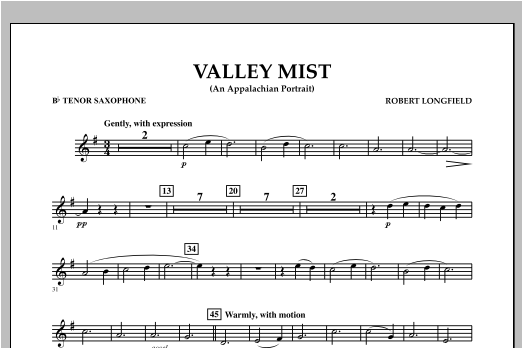 Valley Mist (An Appalachian Portrait) - Bb Tenor Saxophone Sheet Music