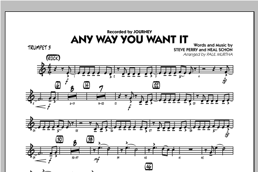 Any Way You Want It - Trumpet 3 Sheet Music