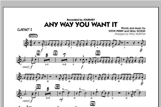Any Way You Want It - Bb Clarinet 2 Sheet Music