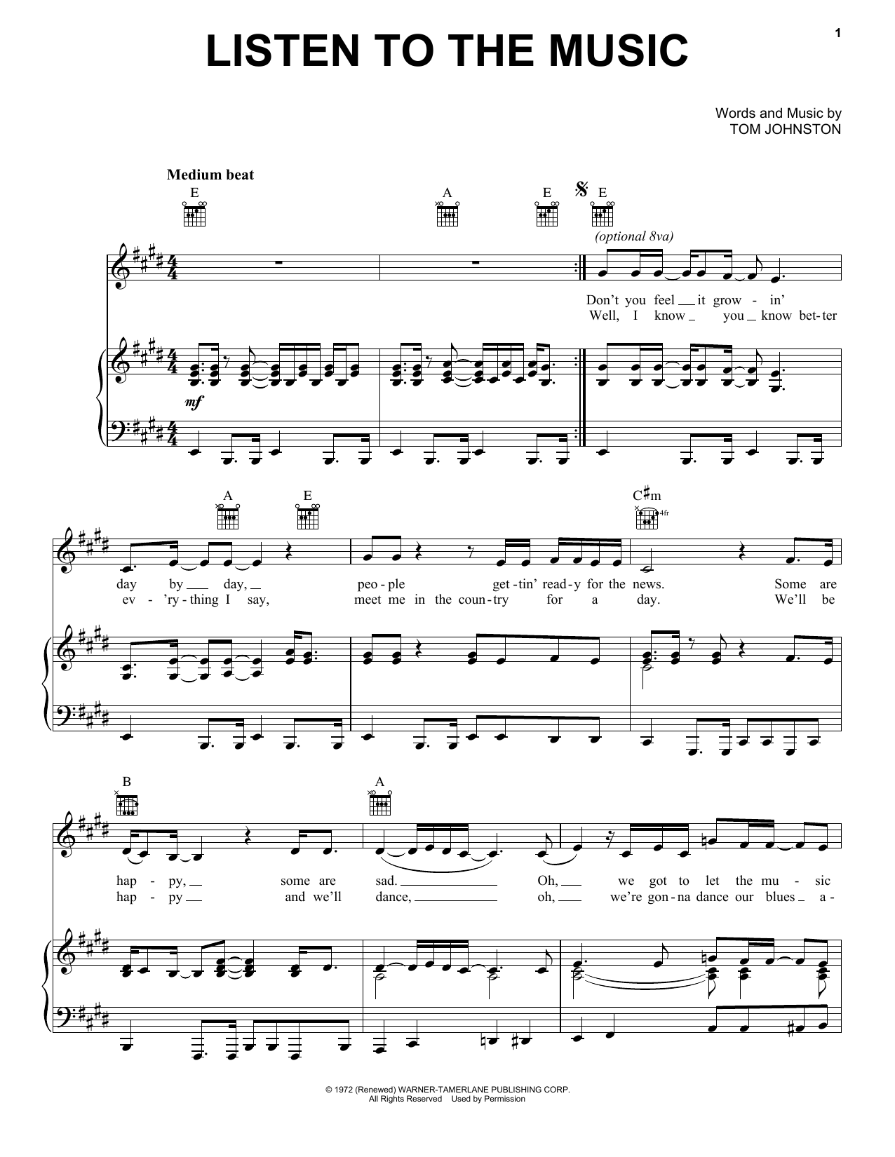 Listen To The Music | Sheet Music Direct