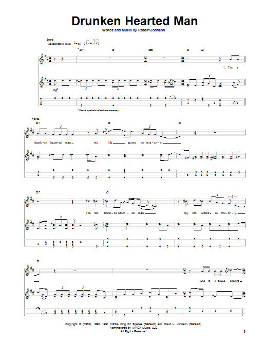 Tablature guitare Drunken Hearted Man de Robert Johnson - Ukulele