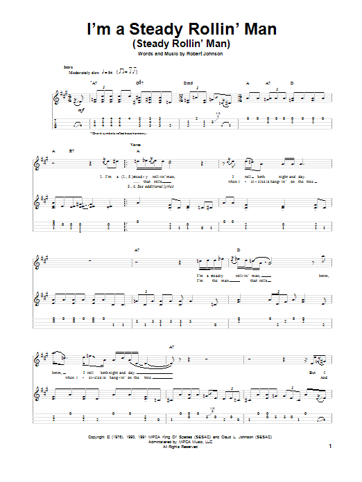 Tablature guitare I'm A Steady Rollin' Man (Steady Rollin' Man) de Robert Johnson - Ukulele