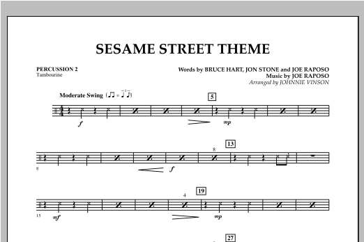 Sesame Street Theme - Percussion 2 Sheet Music
