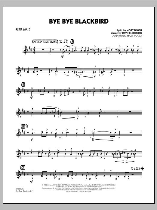 Bye Bye Blackbird - Alto Sax 2 Sheet Music