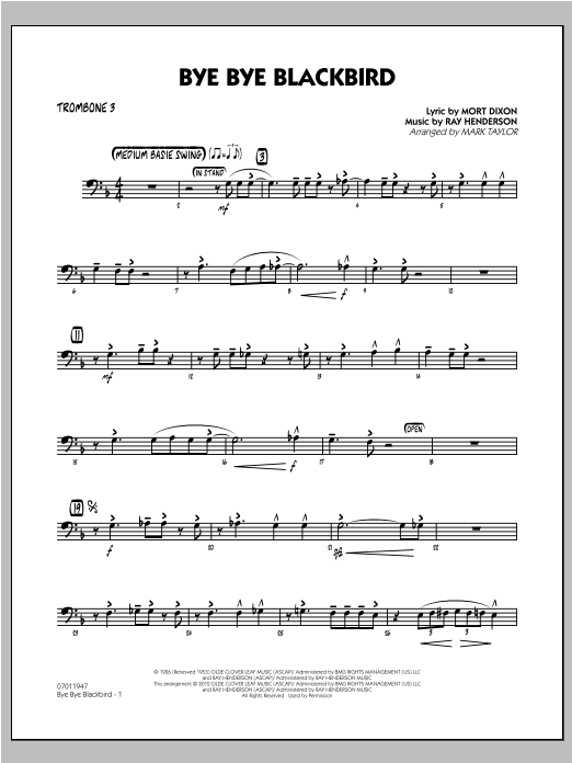 Bye Bye Blackbird - Trombone 3 Sheet Music
