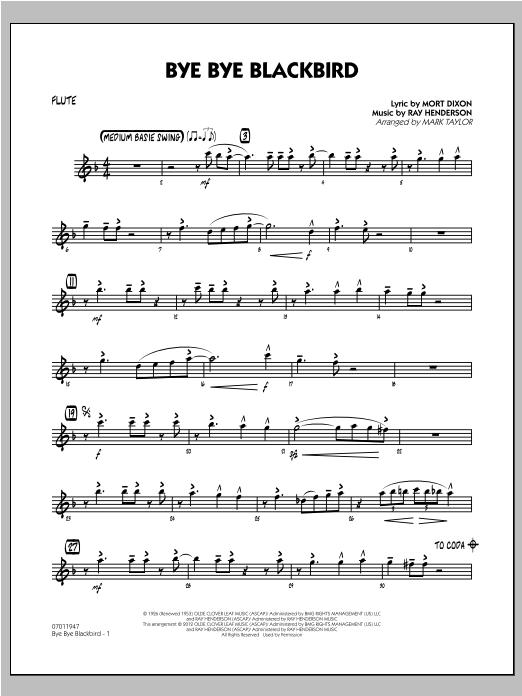 Bye Bye Blackbird Trumpet 1 By Mort Dixon Ray Henderson Mark