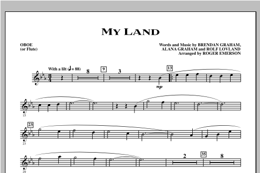 My Land (complete set of parts) sheet music for orchestra/band (Instrumental Parts) by Roger Emerson, Alana Graham, Brendan Graham and Rolf Lovland. Score Image Preview.