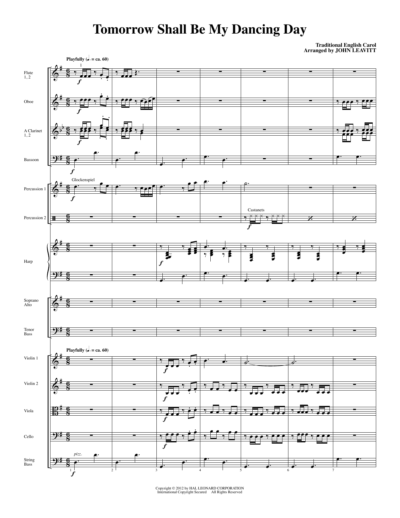 Tomorrow Shall Be My Dancing Day (complete set of parts) sheet music for orchestra/band (Chamber Orchestra) by John Leavitt and Miscellaneous. Score Image Preview.