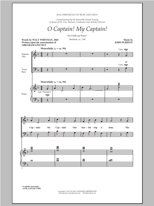 Partition chorale O Captain! My Captain! de Walt Whitman - SATB