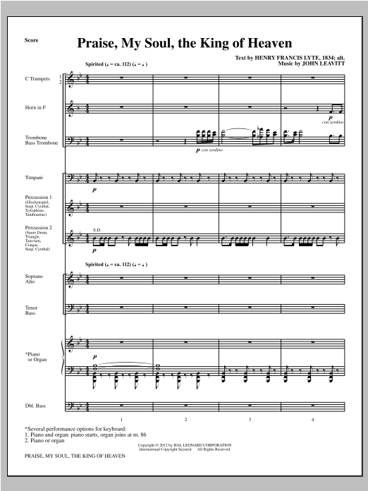 Praise, My Soul, The King Of Heaven (complete set of parts) sheet music for orchestra/band (Brass/Percussion) by John Leavitt. Score Image Preview.