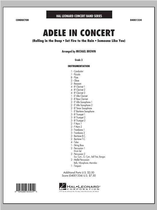 Adele In Concert (COMPLETE) sheet music for concert band by Adele and Michael Brown. Score Image Preview.