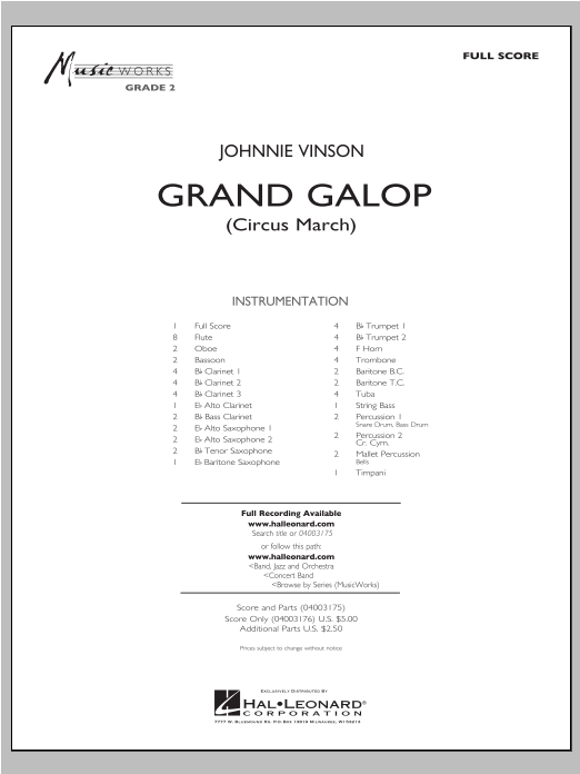 Grand Galop (Circus March) (COMPLETE) sheet music for concert band by Johnnie Vinson. Score Image Preview.