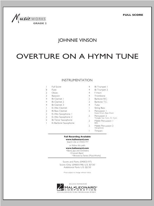 Overture On A Hymn Tune (COMPLETE) sheet music for concert band by Johnnie Vinson. Score Image Preview.