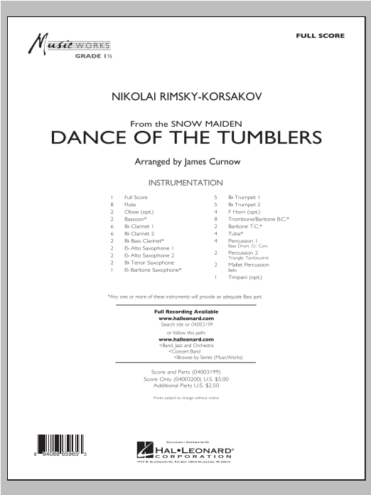 Dance Of The Tumblers (from The Snow Maiden) (COMPLETE) sheet music for concert band by James Curnow and Nikolai Rimsky-Korsakov. Score Image Preview.