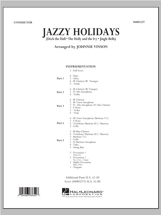 Jazzy Holidays (COMPLETE) sheet music for concert band by Johnnie Vinson. Score Image Preview.