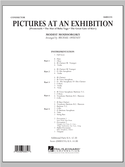 Pictures At An Exhibition (Excerpts) (COMPLETE) sheet music for concert band by Michael Sweeney and Modest Petrovic Mussorgsky. Score Image Preview.