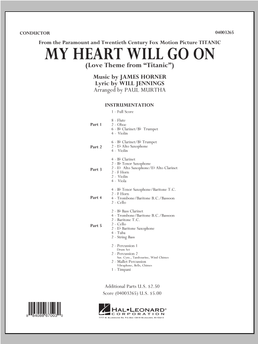 My Heart Will Go On (from Titanic) (COMPLETE) sheet music for concert band by Paul Murtha, Celine Dion, James Horner and Will Jennings. Score Image Preview.